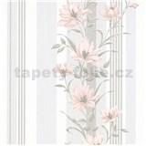 Vliesové tapety na zeď IMPOL Finesse květy růžové s šedými pruhy
