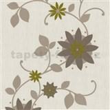 Tapety na zeď Flair - květ hvězdovitý - hnědý - SLEVA