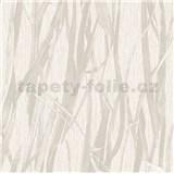 Luxusní vliesové tapety na zeď NATURAL FOREST rákos světle hnědý s třpytkami