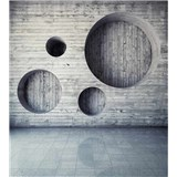 Vliesové fototapety dřevěná stěna s kruhy rozměr 225 cm x 250 cm