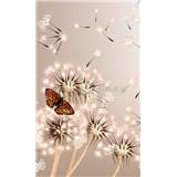 Vliesové fototapety pampelišky a motýli rozměr 150 cm x 250 cm