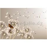 Vliesové fototapety pampelišky a motýli rozměr 375 cm x 250 cm