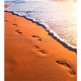 Vliesové fototapety stopy na pobřeží rozměr 225 cm x 250 cm