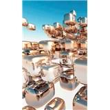 Vliesové fototapety 3D stříbrné kostky rozměr 150 cm x 250 cm