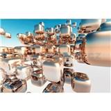 Vliesové fototapety 3D stříbrné kostky rozměr 375 cm x 250 cm
