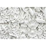 Vliesové fototapety 3D květy bílé rozměr 368 cm x 254 cm