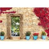 Vliesové fototapety kamenná zeď s oknem 208 cm x 146 cm