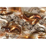 Vliesové fototapety 3D brilianty zlaté rozměr 254 cm x 368 cm