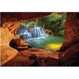 Vliesové fototapety pohled na vodopád z jeskyně rozměr 368 cm x 254 cm