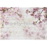 Vliesové fototapety květy sakury na dřevě rozměr 368 cm x 254 cm