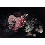 Vliesové fototapety květinová koláž na černém podkladu rozměr 368 x 254 cm