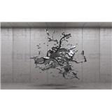 Vliesové fototapety 3D šedý abstrakt na betonovém podkladu rozměr 312 cm x 219 cm