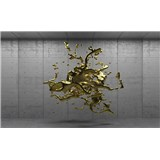 Vliesové fototapety 3D zlatý abstrakt na betonovém podkladu rozměr 208 cm x 146 cm