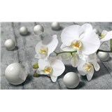 Vliesové fototapety orchidej s perlami rozměr 416 cm x 254 cm