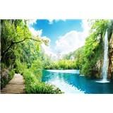 Vliesové fototapety vodopády v lese rozměr 375 cm x 250 cm