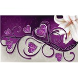 Vliesové fototapety srdce fialové s lilií rozměr 416 cm x 254 cm