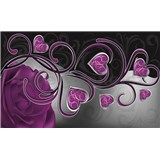 Vliesové fototapety fialová růže se srdíčky rozměr 416 cm x 254 cm