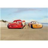 Fototapety Disney Cars Mc Queen a Cruz Ramirez závod na pláži rozměr 368 cm x 254 cm