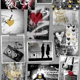 Papírové tapety na zeď Freestyle Love srdíčka zlatá a červená
