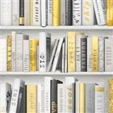 Papírové tapety na zeď Freestyle knihovna žluto-černá