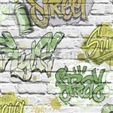 Papírové tapety na zeď Freestyle grafitti zelené na bílé cihlové stěně