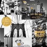 Papírové tapety na zeď Freestyle New York City se zlatými třpytkami