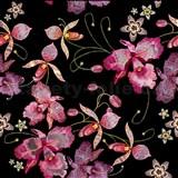 Samolepící folie orchidej růžovo-černo-zlatá- 45 cm x 5 m