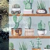 Statická fólie transparentní kaktusy - 67,5 cm x 15 m