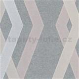 Vliesové tapety na zeď IMPOL Giulia 3D hrany šedo-růžové