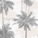 Vliesové tapety na zeď IMPOL Giulia palmy šedo-béžové