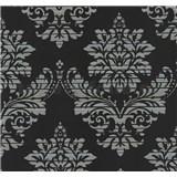 Vliesové tapety na zeď Glamour zámecký vzor stříbrný na černém podkladu