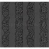 Vliesové tapety na zeď Glamour krajka černá na černém podkladu