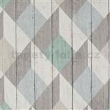 Vliesové tapety na zeď Unplagged 3D dřevěná prkna bílá, šedá, tyrkysová