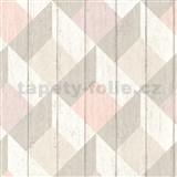 Vliesové tapety na zeď Unplagged 3D dřevěná prkna bílá, béžová, růžová