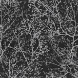 Vliesové tapety na zeď Graphics Alive - větve stromů stříbrné na černém podkladu - SLEVA