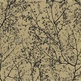 Vliesov� tapety na ze� Graphics Alive - v�tve strom� �ern� na okrov�m podkladu