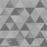 Vliesové tapety na zeď Graphics Alive - geometrický vzor stříbrno-šedý - SLEVA