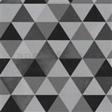 Vliesové tapety na zeď Graphics Alive - geometrický vzor černo-šedý - SLEVA