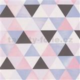 Vliesové tapety na zeď Graphics Alive geometrický vzor šedý, růžový, modrý