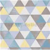Vliesové tapety na zeď Graphics Alive geometrický vzor žlutý, modrý, bílý