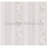 Vliesové tapety na zeď Graziosa pruhy s ornamentem hnědo-krémové -  POSLEDNÍ KUS