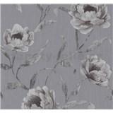 Vliesové tapety na zeď Graziosa květy tmavě fialové na šedém podkladu