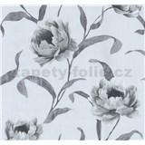 Vliesové tapety na zeď Graziosa květy šedé na světle modrém podkladu