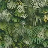 Vliesové tapety na zeď Greenery palmové listy a listy Monstera zelené