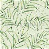 Vliesové tapety na zeď Greenery palmový list modrý na šedém podkladu