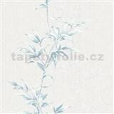 Vliesové tapety na zeď IMPOL Hailey popínavé listy modré na světle šedém podkladu
