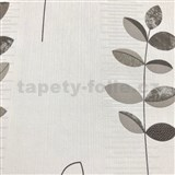 Vliesové tapety na zeď Happiness listy šedo-černé na bílém podkladu - POSLEDNÍ KUSY