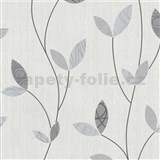 Vliesové tapety na zeď Happy Time - lístky - šedé