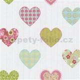 Papírové tapety na zeď Happy Kids 2 - srdíčka zeleno-růžové