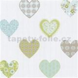 Papírové tapety na zeď Happy Kids 2 - srdíčka modro-zelené